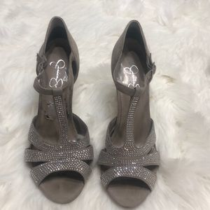 Jessica Simpson taupe  Rhinestone-heels Size 8